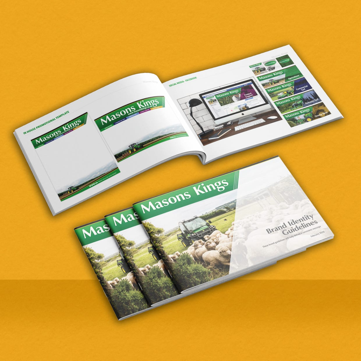 Masons Kings brand guidelines booklet artwork and print