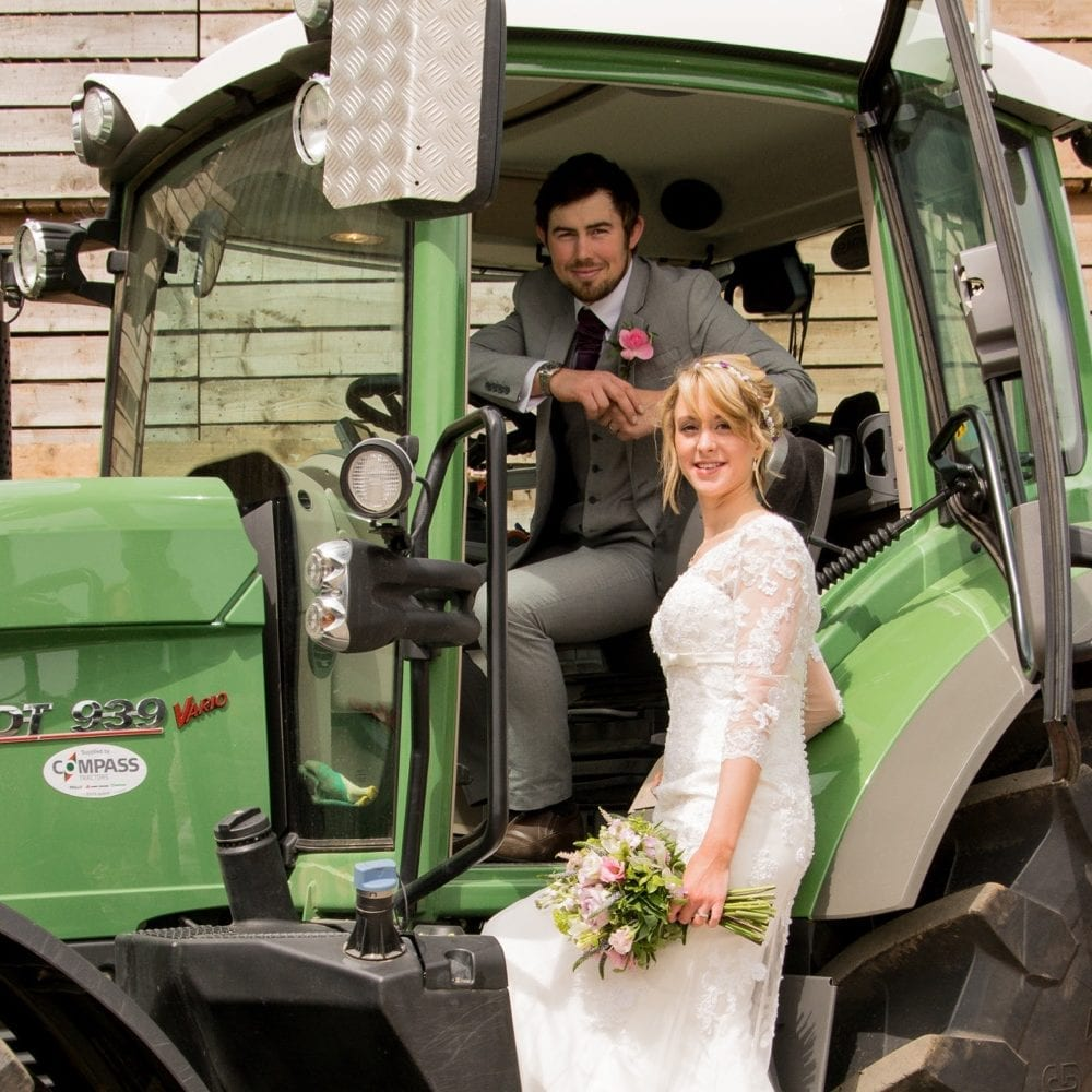 Bride and Groom with Tractor | Farm Wedding