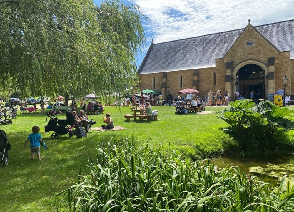 Outside seating at Tithe Barn