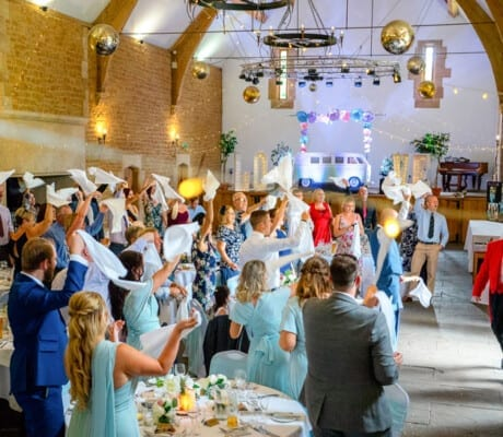 Large wedding reception venue with stage