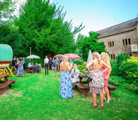 Wedding reception with outdoor seating