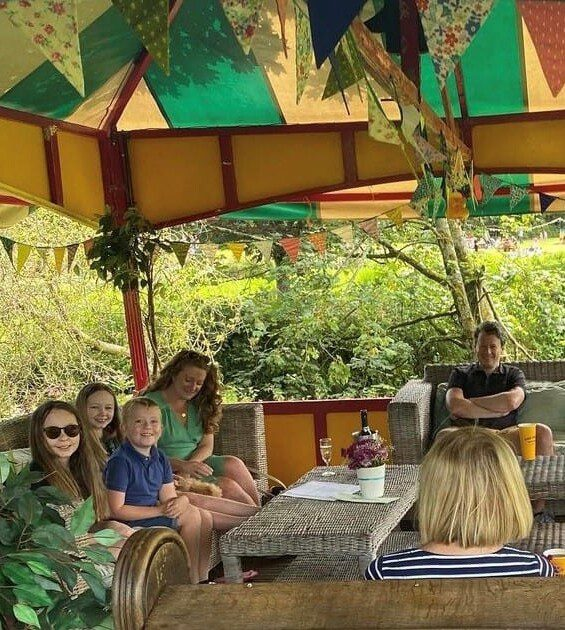 outdoor dining at Haselbury Mill