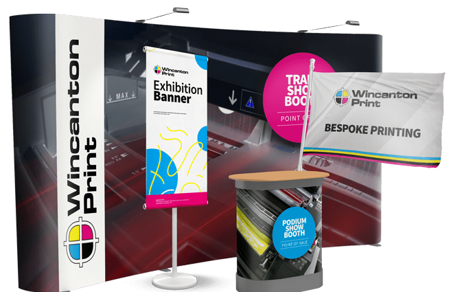 Printed exhibition stand with bespoke printed flag, pull up roller banner, podium graphics | Wincanton print