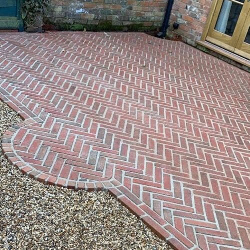Clay paving setts for patios in Ilminster