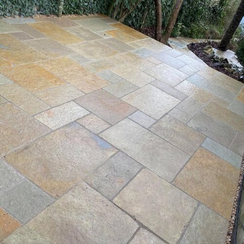 Cut Indian limestone patios and paths in Crewkerne