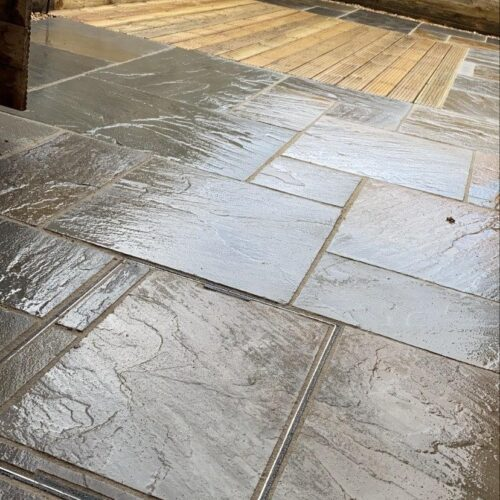 Sandstone Paving with integrated decking area